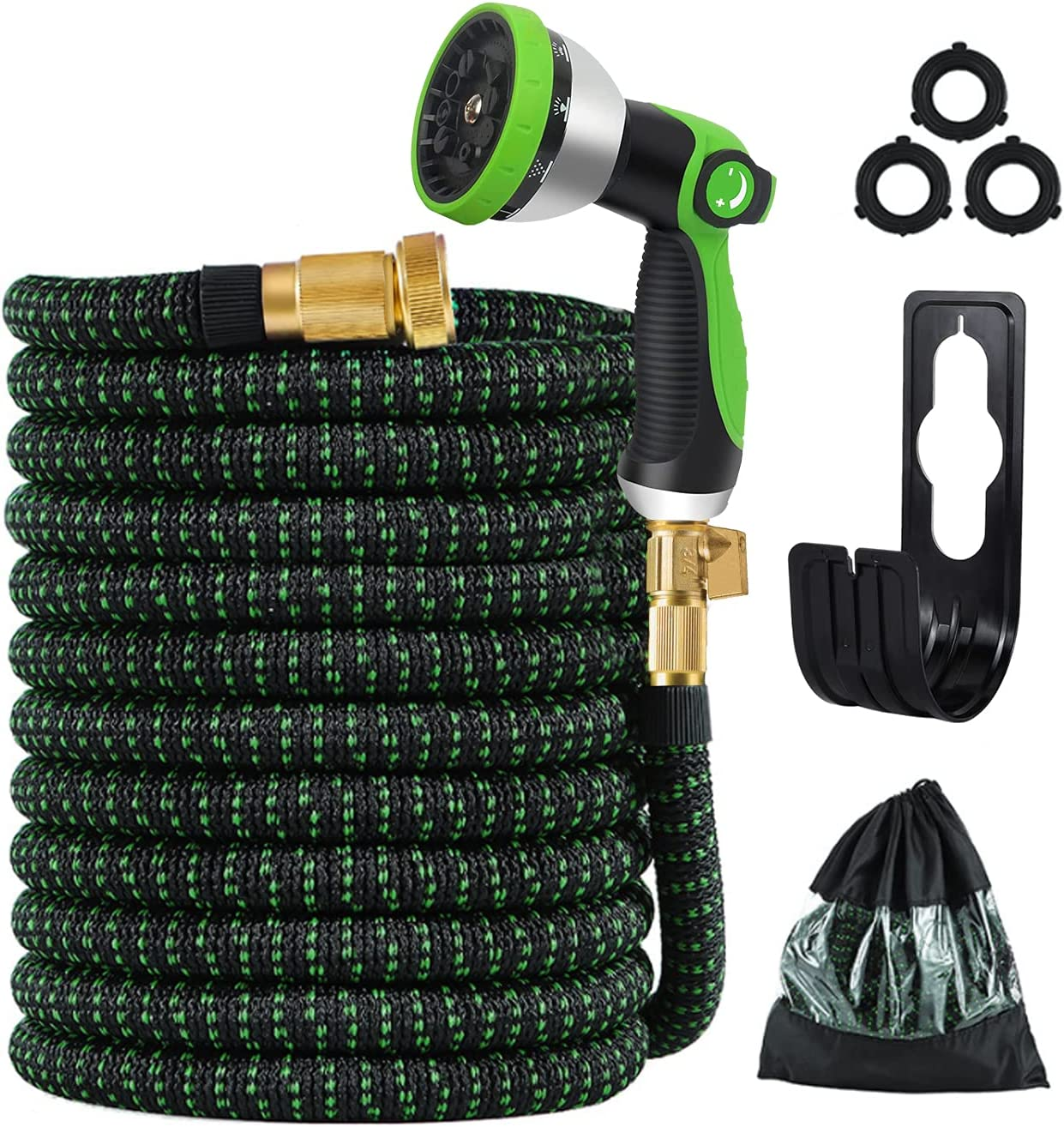 SURFLINE Garden Hose 50ft, Water Hose Expandable Garden Hose with 10 Function Spray Nozzle, 3750D Fabric No-kink Hose,3-Layers of Latex 3/4