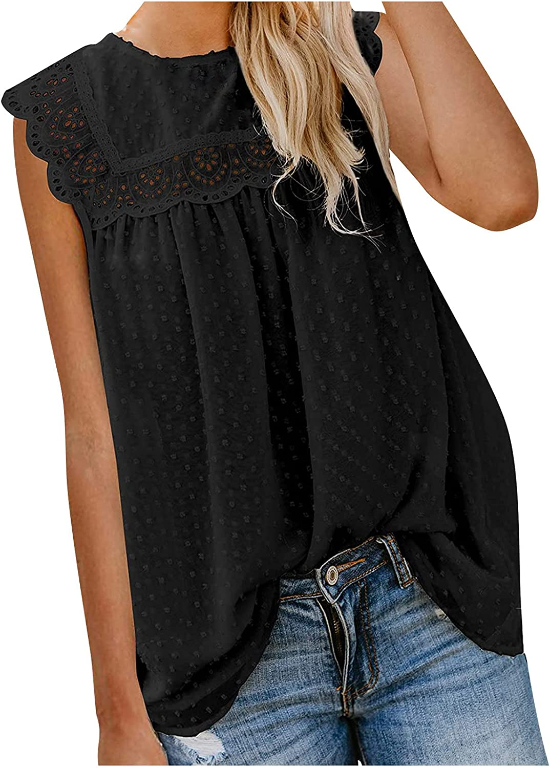 Womens Summer Tops, Fashion Women Casual Lace O-Neck Sleeveless Blouse Sloid Vests Tops