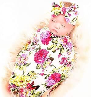 Proyou Newborn Receiving Blanket Headband Set - Unisex Soft Baby Swaddle Girl Boy Gifts (Flower- Beige)