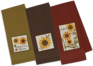 DII Design Imports Set 3 Rustic Sunflower Embellished Kitchen Dish Towels - Brown - Green -Rust Red