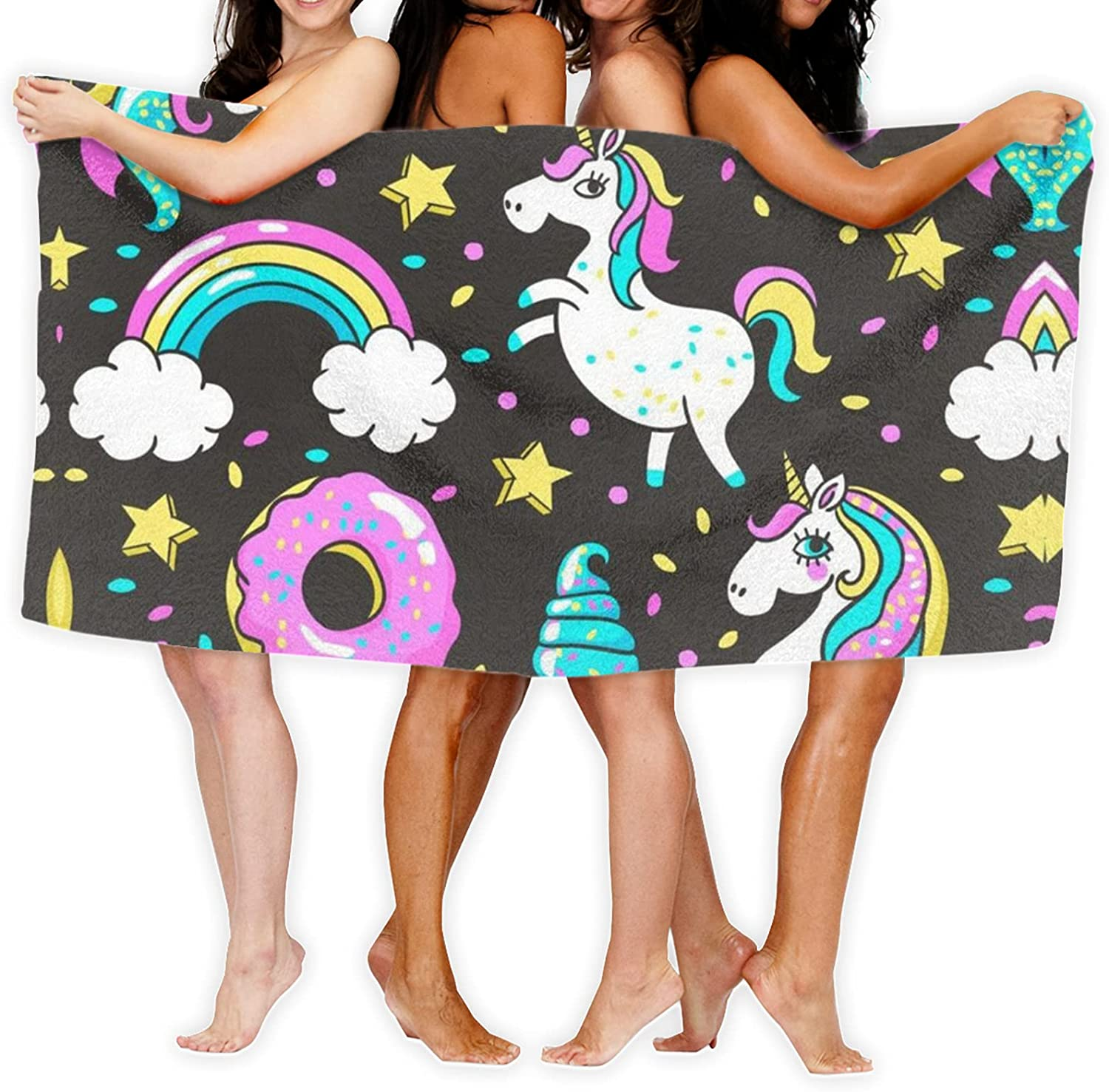 Unicorn and Donuts Rainbow Printed Bath latest Made of Towel A Year-end gift Uniqu is