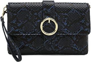 Charming Tailor Snake Clutch Purse with Wrist Strap PU Python Clutch Dress Handbag