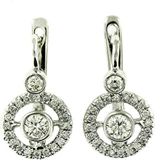 1.10 Ct White Gold Russian Antique Style Diamond Fashion Hanging Earrings 14 Kt