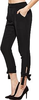 Women's Elastic Waist Comfy Bow Tie Hem Crop Skinny Pants with Pockets