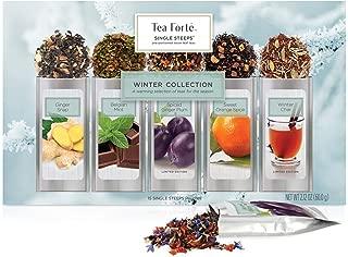 Tea Forte Warming Joy Single Steeps Loose Leaf Tea Sampler Gift Set, Assorted Variety Holiday Tea Box, 15 Single Serve Pouches, Festive Winter Spice Blends