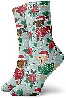 Uridy, Suéteres navideños Cute Dachshunds Calcetines unisex Calcetines suaves impresos Calcetines todo el año Calcetines cortos