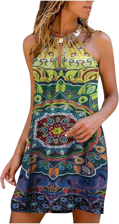 Sun Dresses Women Summer Women's Summer Casual Fashion Metal Hanging Neck Print Sleeveless Dress Casual Sexy Boho