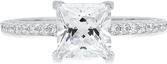 Clara Pucci 1.86 CT. Brilliant Princess Cut Designer Accent Solitaire Ring in Solid 14k White Gold