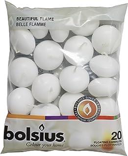 Bolsius 103632053702 Bougie flottante, cire de paraffine Blanc, 4.5cm l x 4.5cm w X 3cm h