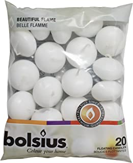 BOLSIUS Unscented Floating Candles – Set of 20 White Floating Candles – Cute and Elegant Burning Candles – Candles with Nice and Smooth Flame – Party Accessories