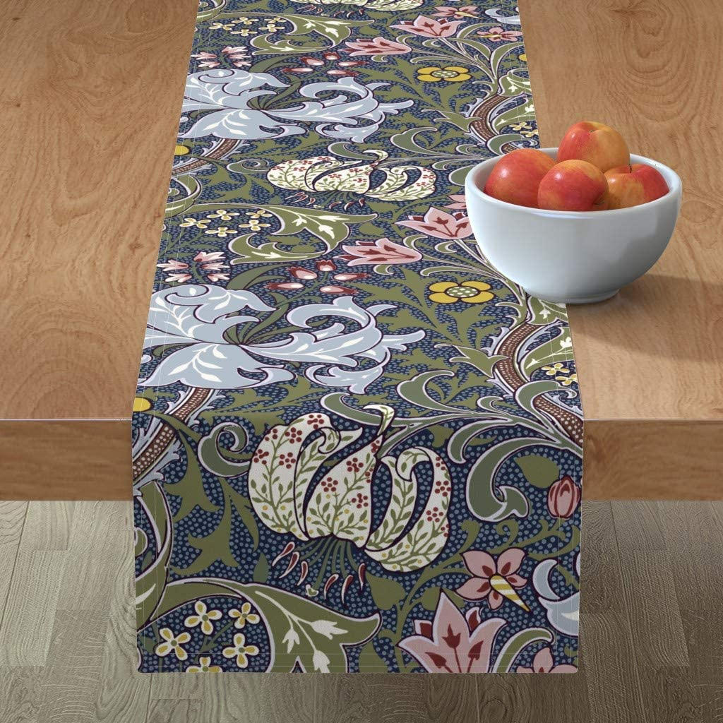 Roostery Spoonflower Tablerunner Safety and Fashion trust Golden Strawberry Floral Botan
