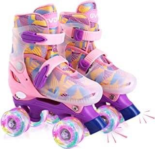 GVDV Roller Skates for Boys and Girls - Adjustable Size Double Roller Skates, with 8 Wheels Light Up, Full Protection for Children's Indoor and Outdoor Play, Rollerskates for kids Beginners