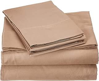 4PCs Sheet set 400 Thread count 100% Cotton Sheet Taupe Solid Full-XL Sheets Long Staple Cotton Fits Mattress Upto 15