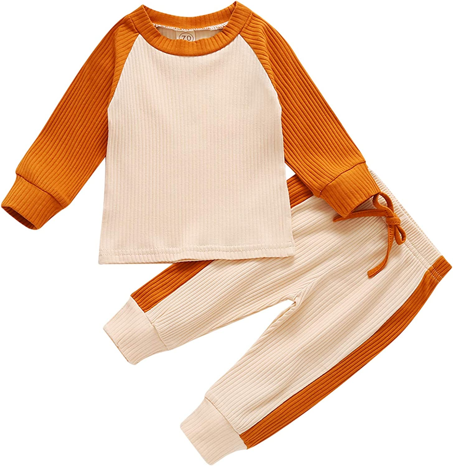 Baby Girls Boys 2 Pieces Pajamas Set Cotton Knitted Long Sleeve Tops & Pants