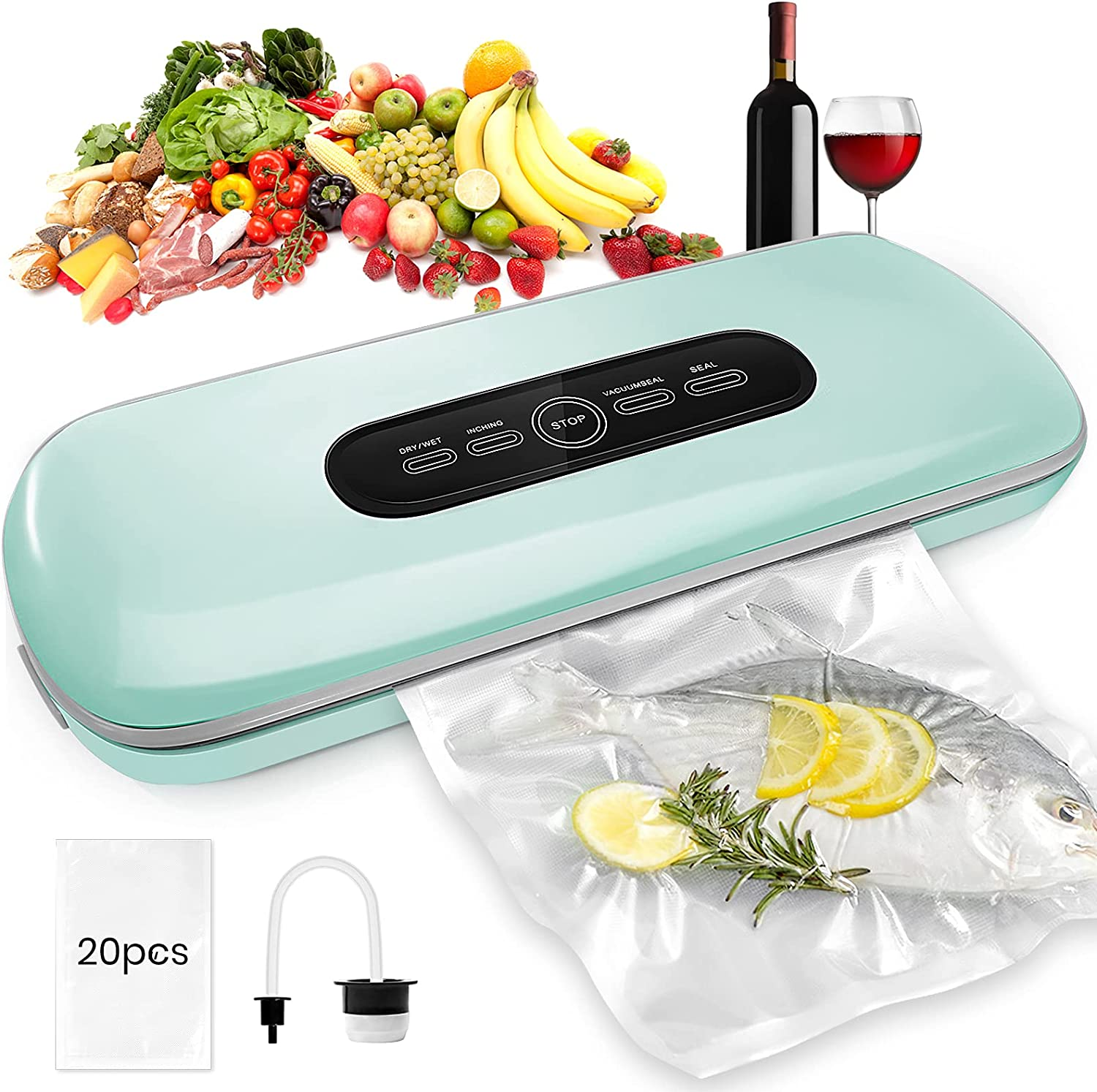 Vacuum Sealer Machine, Chansic Automatic Food Saver Vacuum sealer Machine With Dry&Moist Modes,Led Indicator,Starter Kit (Vacuum Sealer Bags×20 included), Continuously seal more than 100 bags