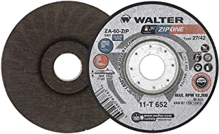 Walter Surface Technologies 11T652 Walter Zip One High Performance Cut-Off Wheel, Round Hole, Aluminum Oxide, 5