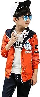 SHUNYI キッズ服 トレンチコート スプリングコート リバーシブル 男の子 ボーイズ ジャンパー ブルゾン Gジャン カジュアルコート フード付き アウター