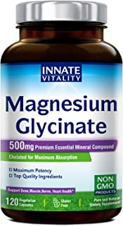 Magnesium Glycinate 500mg per Caps, 120 Veggie Caps, Chelated for Maximum Absorption, Non-GMO, NO Gluten Dairy & Soy, Supp...