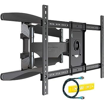 Invision Soporte de TV Pared para 37-70 Pulgadas Pantallas - Super Fuerte, Inclinable y Giratorio Doble Brazo - Máx VESA 600x400mm - Peso Máx 50 kg - Cable HDMI Y Nivel de Burbuja Incluidos (HDTV-DXL)