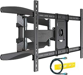 Invision Soporte de Pared para TV Ultra Fuerte – para Pantallas Curvo Plasma LCD LED 94-178cm (37-70 Pulgadas) Doble Brazo Giratorio Inclinable – con Cable HDMI 1080p y Nivel de Burbuja (HDTV-DXL)