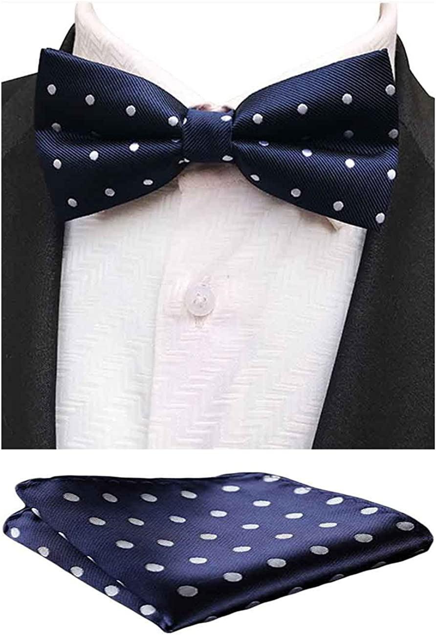 MOHSLEE Mens Gold Paisley Pre-Tied Bowtie Wedding Suit Bow Tie Pocket Square Set