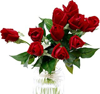10Pcs Artificial Silk Red Roses Fake Real Touch Flowers Faux Bridal Bouquet for Wedding Home Garden Decor (Red Long Stem)