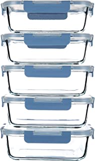 حاويات زجاجية لتخزين الطعام [5 عبوات، 1 لتر] حاويات إعداد وجبات الطعام، حاويات غداء مع أغطية محكمة مانعة للتسرب - خالية من...
