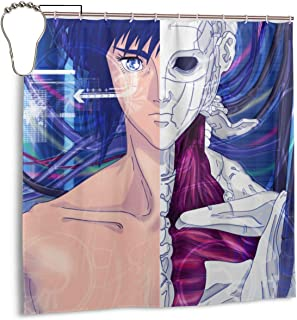 SHANGQINGYUN Ghost in The Shell Anime/Cartoon/Gaming Shower Curtain (72 X 72 Inch) Waterproof Polyester Fabric Shower Curtain for Bathroom Showers and Bathtubs with Iron Hooks