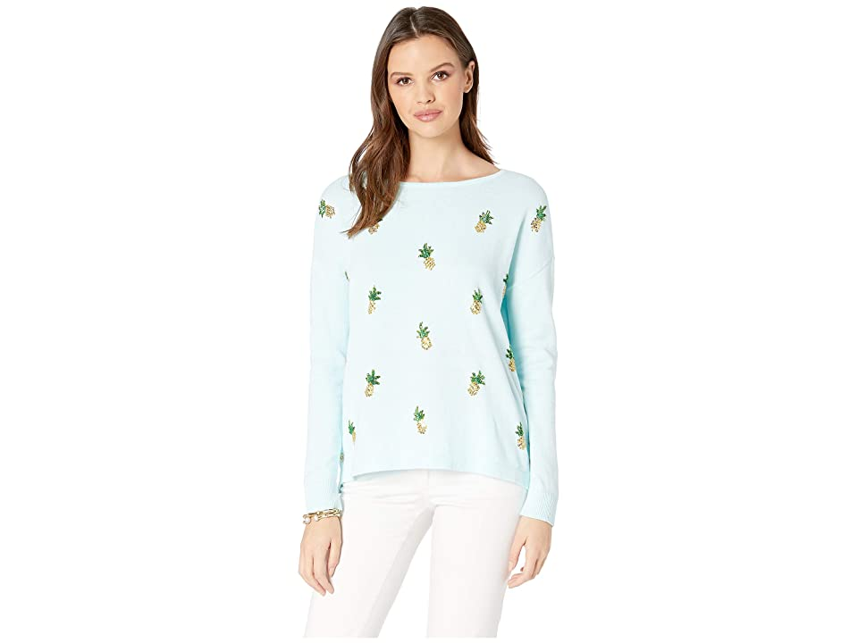 Lilly Pulitzer Caralynn Sweater (Whisper Blue Tossed Pineapple Embellishment) Women