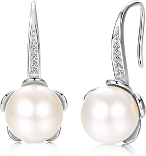 Sllaiss 925 Sterling Silver Pearl Dangle Drop Earrings for Women, White Swarovski Pearl Flower Bottom Drop Earrings