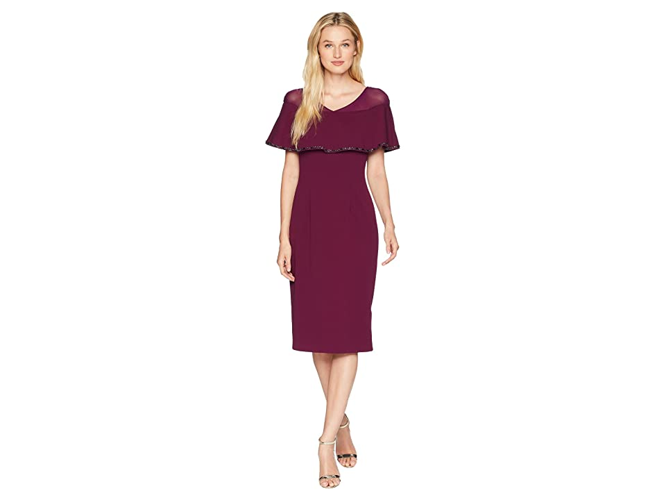 Adrianna Papell Stretch Knit Crepe Cocktail Dress with Illusion and Capelet (Rich Raisin) Women