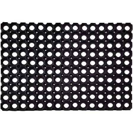 Status PVC Rubber Outdoor Door Mat for Home/Bathroom/Bedroom/Office/Main Door/Rainy Season (41x61 cm,Black)-Pack of 1