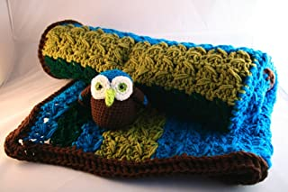 Crochet Pattern, baby blanket and amigurumi owl soft toy (Baby Blankets Book 1)