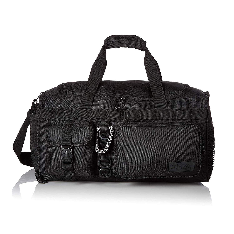 Fitdom 小号运动健身行李袋,带大号运动鞋隔层。 适合锻炼、足球、篮球、排球和其他运动装备配件。 非常适合旅行、过夜和周末旅行时使用 黑色 20