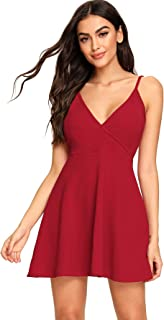 Women's V Neck Spaghetti Straps Sleeveless Sexy Backless Wrap Flare Dress