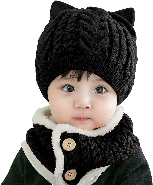 Bienvenu Baby Boy Girl Winter Hat, Toddler Cat Beanie Hat with Scarf, Fleece Lined Knit Cap Neckwarmer for Kids 2 Pieces