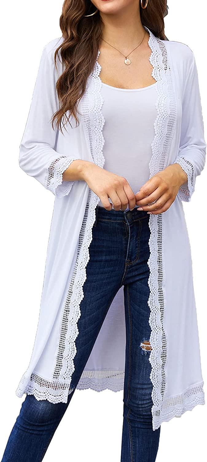 Women's Cardigan 3/4 Sleeve Lightweight Open Front Lace Trim Long Duster Cardigans S-3X