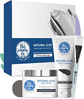 The Moms Co. Natural Clay Deep Purifying Face Kit with Clay Face Mask (100 ml) and Clay Face Wash (100 ml) with Moroccan Lava Clay & Kaolin || Activated Charcoal || Purifies ,Detoxes & Brightens Normal to Oily Skin