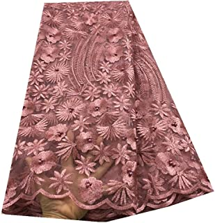 African Lace Fabric with Beads and Stones Embroidered Nigerian Lace French Tulle Wedding Lace Fabric (Color : PINK, Size : 5YARDS)
