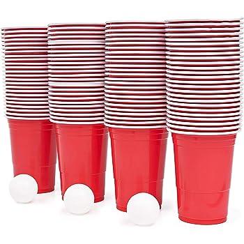 115 Piezas Juego de Beer Pong| 100 Vasos de Plástico Rojo, 15 Bolas| Resistente y No Tóxico| Juego de Beber Clásico para Adultos| Fiestas Cumpleaños Bodas Navidad Año Nuevo.