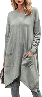 Sollinarry Women's Asymmetrical Hem Long Sleeve Loose Knit Pullover Sweater Dress with Pockets
