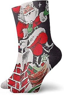 Lindo Papá Noel sentado en la chimenea Beber té Calcetines de media pantorrilla Calcetines deportivos transpirables Clásicos Calcetines altos para adultos Adolescentes Unisex