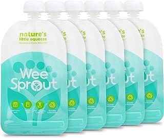 WeeSprout Double Zipper Reusable Food Pouches | 6 Pack 5 fl oz Size Pouches | Blue