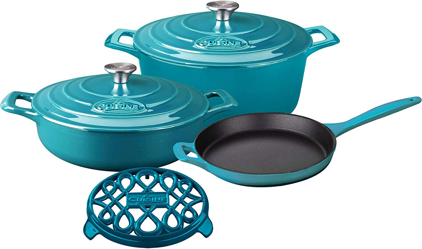 La Cuisine LC 2875MB PRO 6 Piece Enameled Cast Iron Cookware Set In High Gloss Teal Round Casserole Trivet