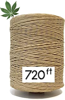 100% Natural Waxed Hemp Wick for Smoking or Making Candle, Necklace, Bracelet. Made from Organically Produced Hemp Twine & Bees Wax (720ft) - 1MM