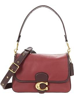 코치 숄더백 COACH Color-Block Leather Soft Tabby Shoulder Bag,Wine Multi