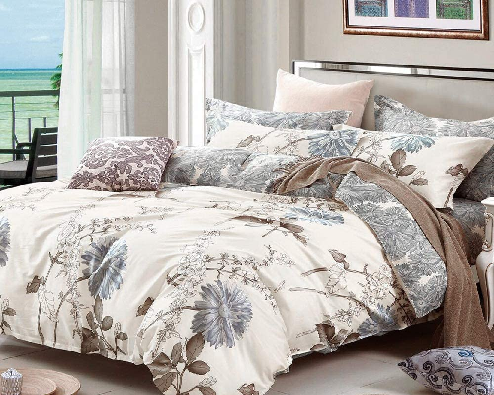 HNU 5 Pieces Floral Print Courier shipping free Duvet Set Soft Bed Cover Queen discount Cotton