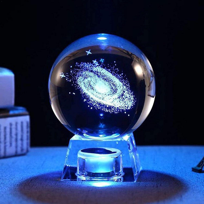 JeeKoudy Globo de Nieve Iluminado, Caja de música de Bola de Cristal 3D, Regalo con Base de lámpara LED, Sistema Solar/Mil-ky Way/Modelo de Alce y colección de decoración navideña Festiva