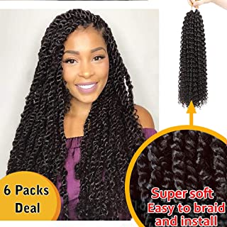 AISI QUEENS Passion Twist Hair Crochet Hair 6Packs 18 Inch Water Wave for Passion Synthetic Crochet Braids Hair Extensions for Women (2#)