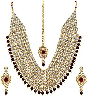 aheli Wedding Collection Kundan Layer Jewelry Necklace Set/Bridal Set with Maang Tikka Earrings for Women